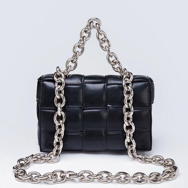 Gold chain soft square bags - olalace
