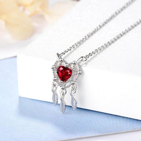 Collier Attrape Rêve Coeur de Ruby