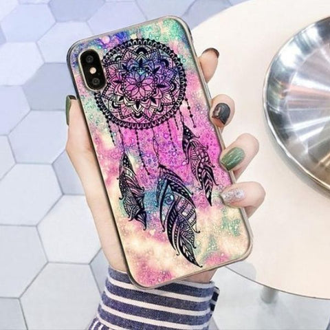 Coque Attrape Rêve iPhone Fond Rose