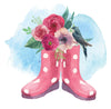 Wellies flowers and bird notelets