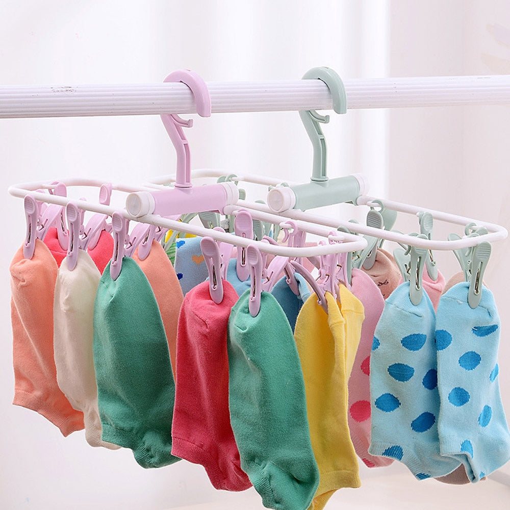 12 Clip Folding Drying Rack Underwear Socks Clip Multi-functional Clothes Rack Plastic Portable Cloth Drying Rack