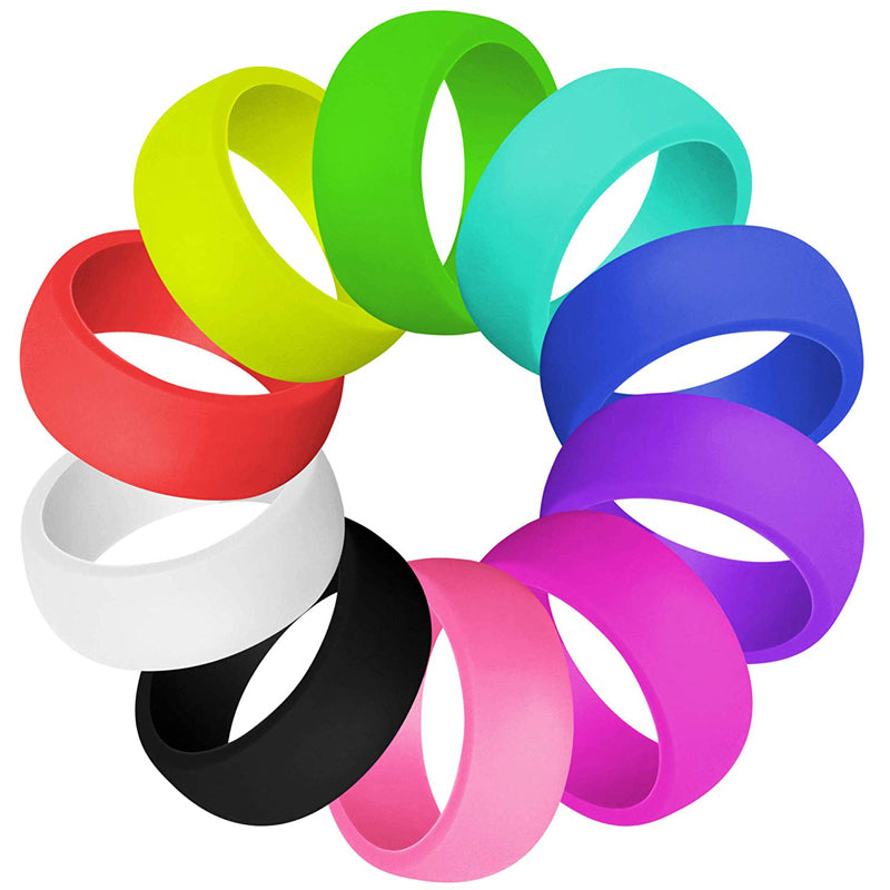 10pcs/set 11 Style Silicone Ring Hypoallergenic Crossfit Flexible Sports Rubber Finger Ring For Men Women Wedding Rings