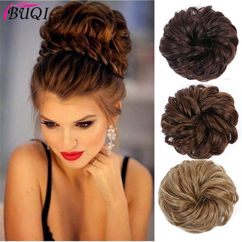 Buqi Fashion Women Synthetic Bun Elastic Dount Blonde Black Heat Resistant Clip In Hairpiece Extensions Chignon Hair Accessories