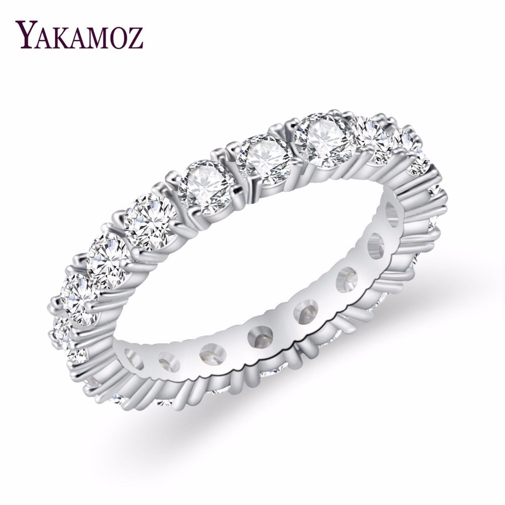 2017 Luxury Brand Jewelry White  Color Inlay Cubic Zirconia Unique Shaped Ring for Women Wedding Engagement Size