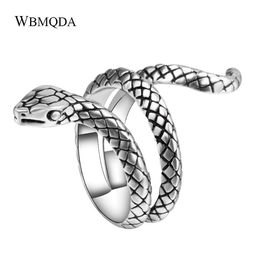 2018 Fashion Hip Hop Silver Snake Rings For Women Punk Rock Biker Signet Ring Men Accessories Vintage Jewelry Drop Shipping