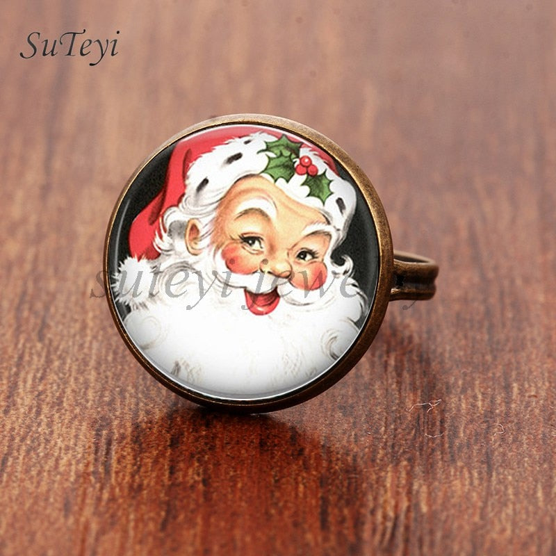 SUTEYI Christmas New Year Gifts Santa Claus Rings Christmas Art Picture Glass Cabochon Ring For Men Women Jewelry