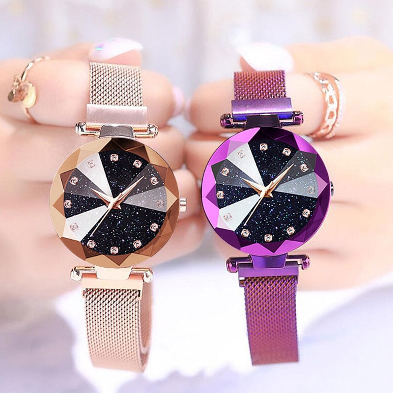 Luxury Rose Gold Women Watches Fashion Diamond Ladies Starry Sky Magnet Watch Waterproof Female Wristwatch For Clock 2019