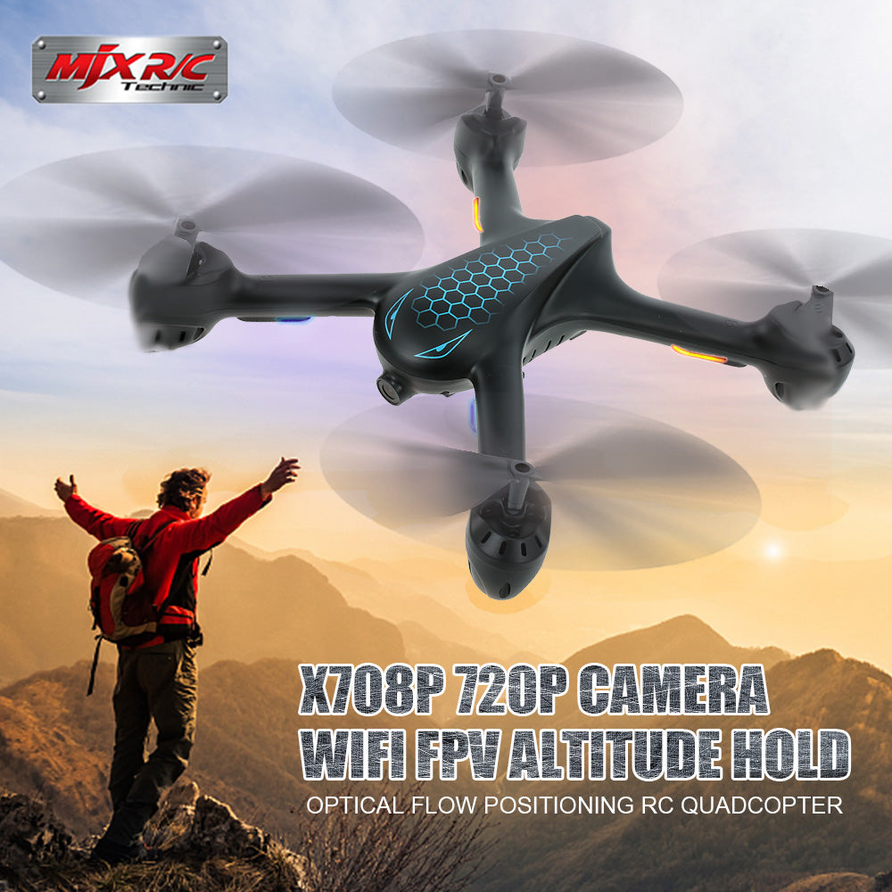 MJX X708P 720P Camera Drone Selfie Drones FPV Wifi Optical Flow Positioning RC quadrocopter rc helicopter Dron Phone Control