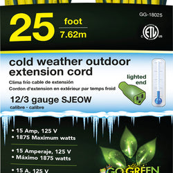 Cold Weather Outdoor Extension Cord 12/3 Gauge
