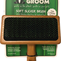 Bamboo Soft Slicker Brush With Stainless Steel Pin