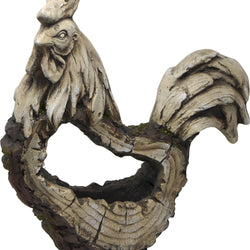 Stone Rooster Planter With Wooden Carved Finish