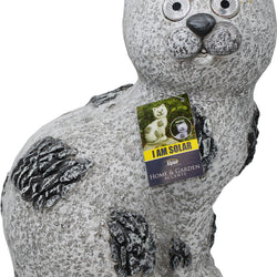 Solar Slate Cat Garden Statue With Led Lights