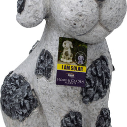 Solar Slate Dog Garden Statue With Led Lights