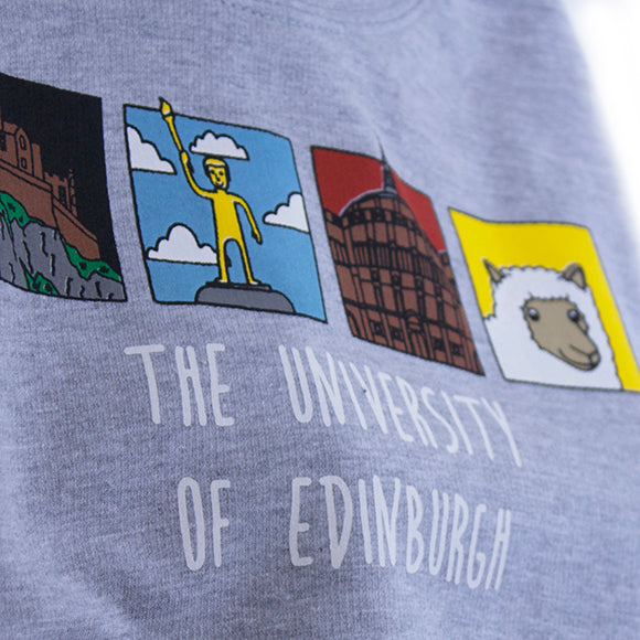 Close up of Grey Kids hoodie with 'The University of Edinburgh' text and four images of Edinburgh Landmarks.