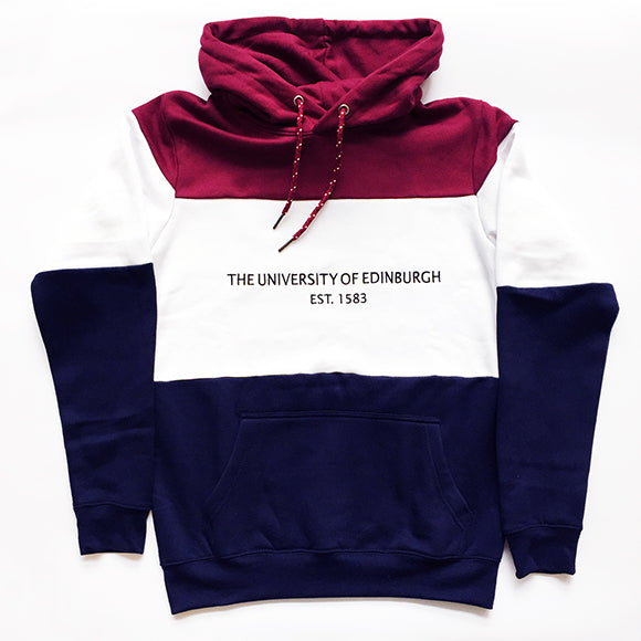 Our trim-colour retro style panel hoodie is burgundy on the hood, white on the chest and navy on the bottom. The University name and year of establishment are printed across the chest in navy. Features a kangaroo pouch pocket and two toned drawcords in burgundy and white.