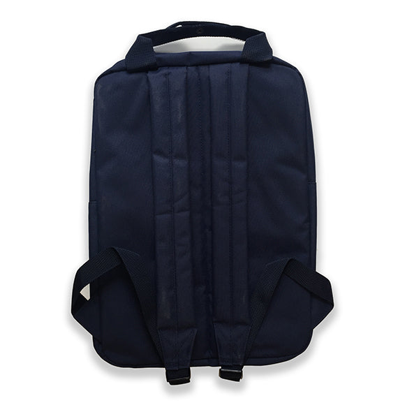 A picture of the back of the Compact backpack in Navy. Featuring two padded shoulder straps and woven handles.