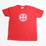 A bright red kids t-shirt with large white University crest.