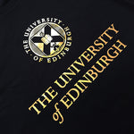 University crest and name printed in bright gold across the chest of the hoodie.
