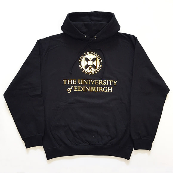 Gold foil crest hoodie in black, with kangaroo pouch pocket and thin drawcords. The University of Edinburgh crest and name is printed across the chest in gold.