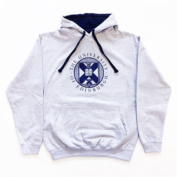 Large crest two-tone hoodie in grey, with navy drawcords and University crest printed across the chest.