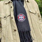 Embroidered Crest Scarf in Navy