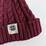 Cable Knit Bobble Hat in Burgundy