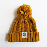 Cable Knit Bobble Hat in Mustard Yellow