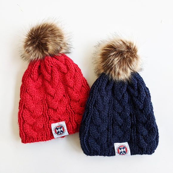 Cable Knit Pom Pom Hat in Red