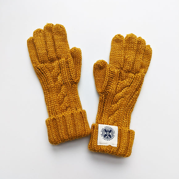 Cable Knit Gloves in Mustard Yellow
