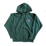 Classic Embroidered Zipped Hoodie in Green