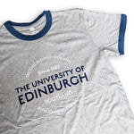 Retro ringer t-shirt in grey with navy banding close up image
