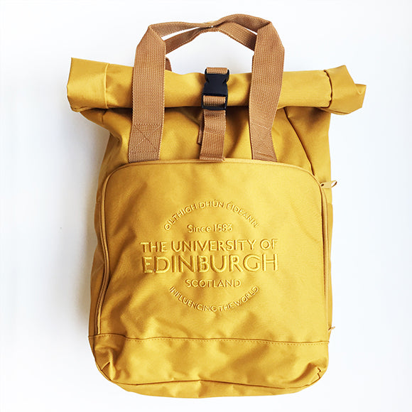 Roll-Top Backpack in Mustard Yellow