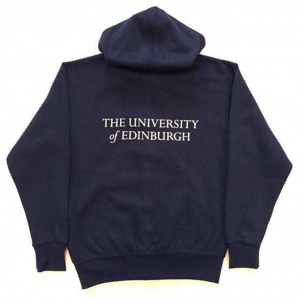 """The University of Edinburgh"" is printed in white lettering on the back of the hoodie."