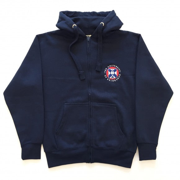 The classic embroidered zipped hoodie in navy, with the University of Edinburgh crest embroidered on the left breast. Features thick drawcords and a kangaroo pouch pocket.