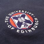 "The classic embroidered pullover hoodie features ""the university of Edinburgh"" printed on the back in white lettering."