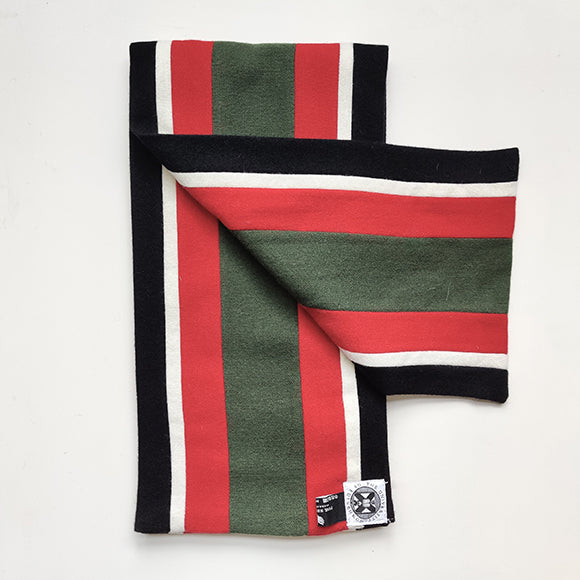 Black, white, red and green graduation scarf