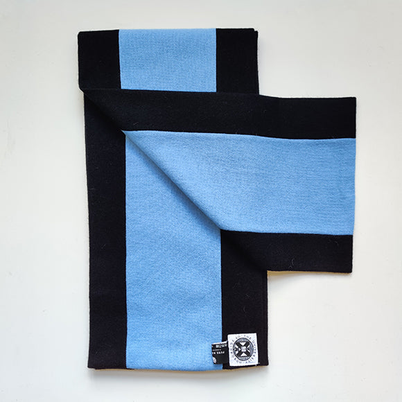 black and light blue graduation scarf