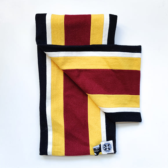 BVM&S scarf in black, white, yellow and red