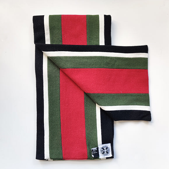 BMedSci scarf in black, white, green and red
