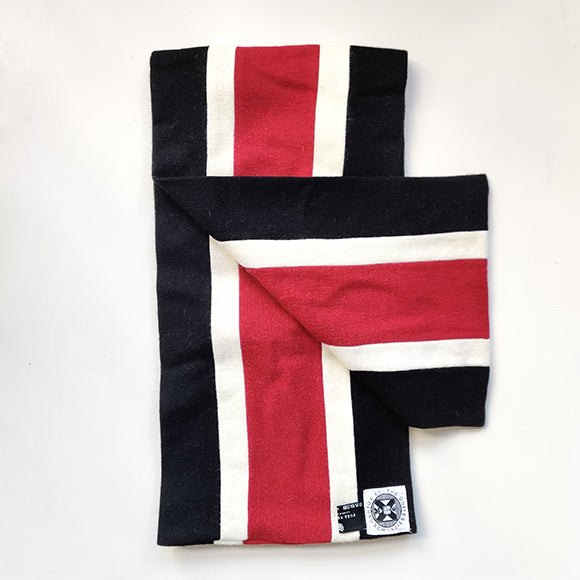 MBChB scarf in black, white and crimson