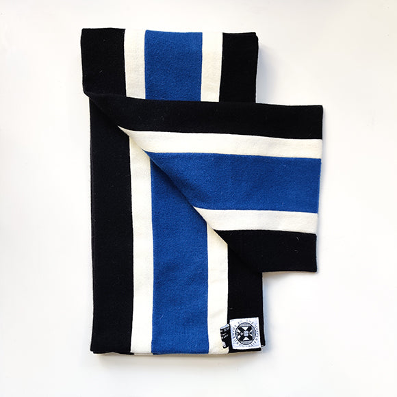 LLB scarf in black blue and white