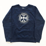 Distressed Crest Style Sweatshirt in Navy