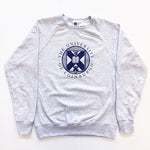 Our grey, crew neck sweatshirt featuring the University of Edinburgh crest in navy on the centre front of the sweatshirt. This has a slightly distressed feel.