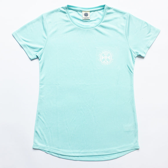 Ladies Sports T-shirt in Mint. Features white University crest.