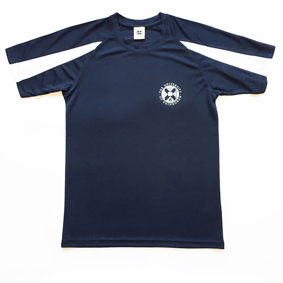 Navy sports short-sleeved t-shirt. White contrast sleeves with white small crest detail.