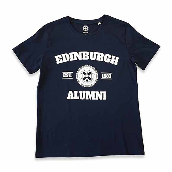 Navy t-shirt with alumni design.