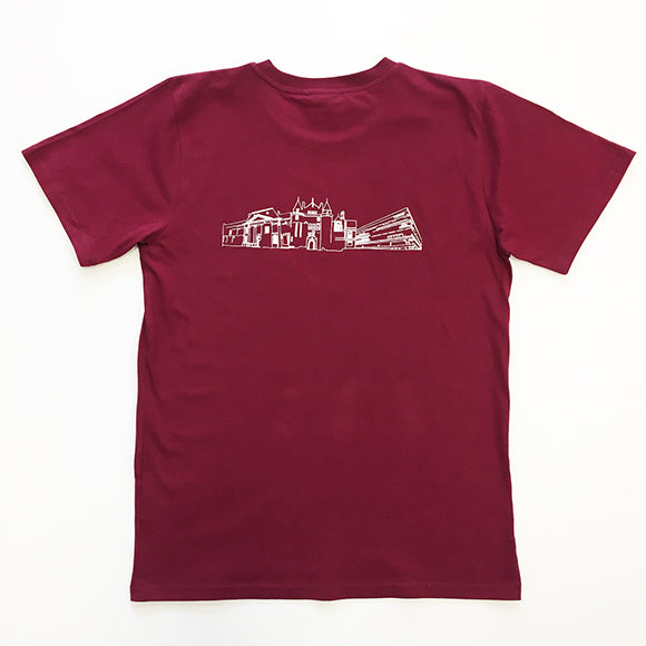 Back view of the t-shirt featuring the white buildings print.
