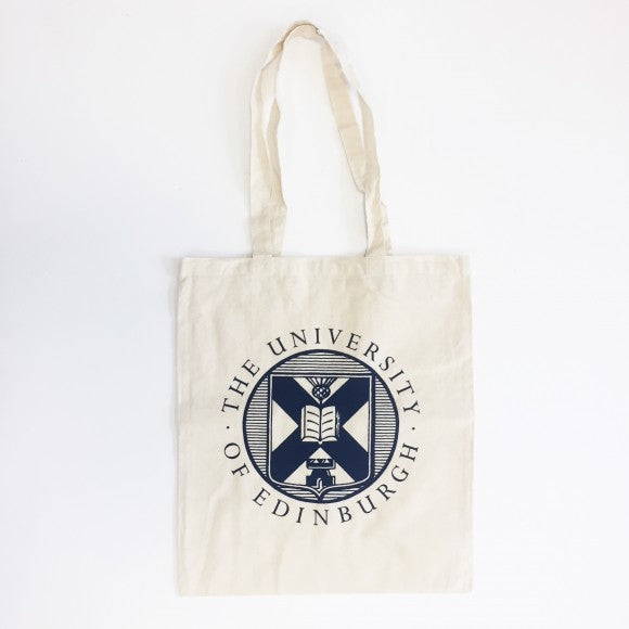A White Cotton Shopper featuring the Edinburgh University Crest in Navy Blue.