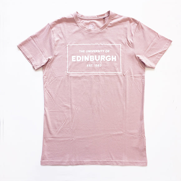 Unisex pink t-shirt with the University name and year of establishment printed in a box in white across the chest.