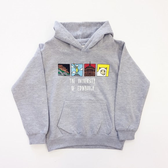 Grey Kids hoodie with 'The University of Edinburgh' text and four images of Edinburgh Landmarks.